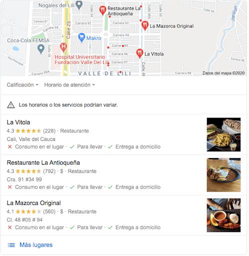 resultados google maps