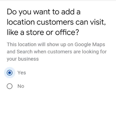 google my business formulario ubicacion